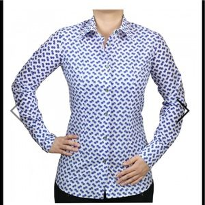 Cotton Doux woman's fitted dice shirt. Size 3